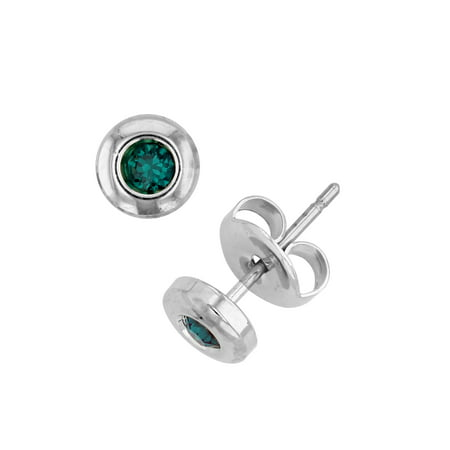 X & O Rhodium Plated Bezel Post Earring With Swarovski Crystals in - Swarovski Emerald Earring