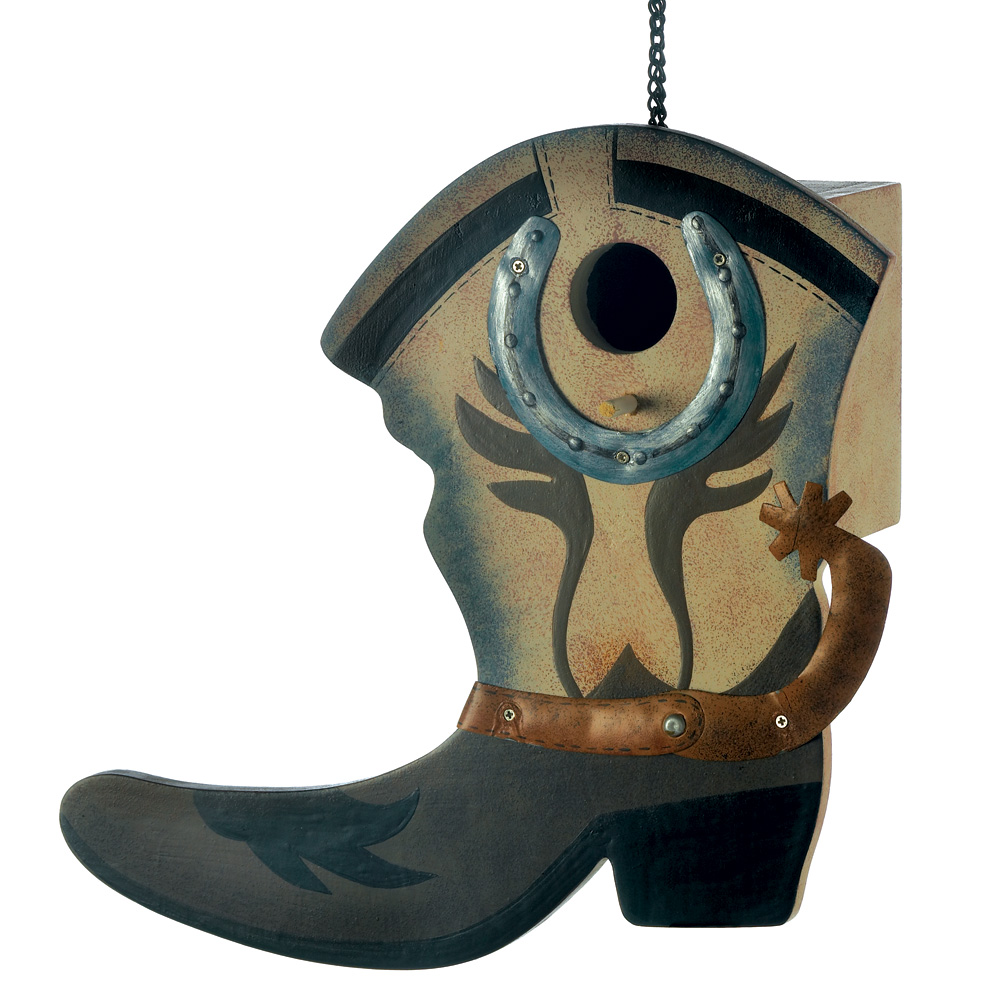 Finch Birdhouse, Outdoor Wooden Birdhouse Craft, Small Western Boot Birdhouse by Songbird Valley