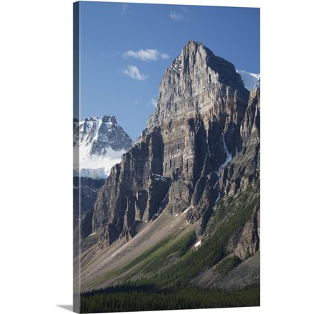 Great Big Canvas Michael Interisano Premium Thick Wrap Canvas Entitled Mountain Peaks With Cliff Face And Blue Sky  Alberta  Canada