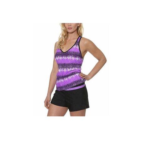 Colorblock Tankini (Gerry Womens Size Small Colorblock Built in Bra Tankini Swimsuit Set, Lt. Orchid )