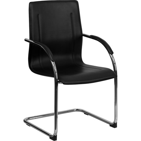 Durable Series Sled Base - Flash Furniture Hercules Series Vinyl Side Reception Waiting Room Chair with Chrome Sled Base, Black