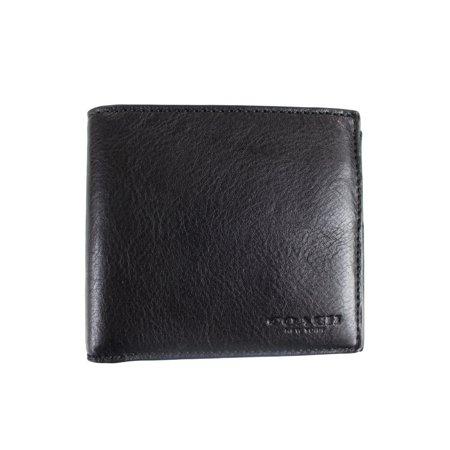 Double Billfold - COACH Men's Sport Calf Double Billfold Wallet Black Wallets
