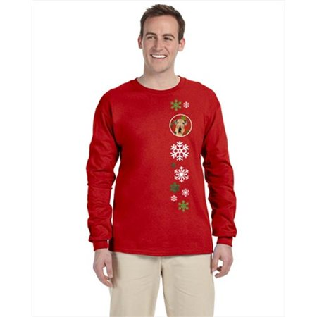 Carolines Treasures SC9413-LS-RED-XL Airedale Red Snowflakes Long Sleeve Red Unisex Tshirt - Extra Large - image 1 de 1