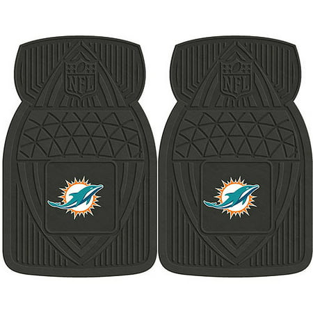 NFL 2-Piece Heavy-Duty Vinyl Car Mat Set, Miami Dolphins by