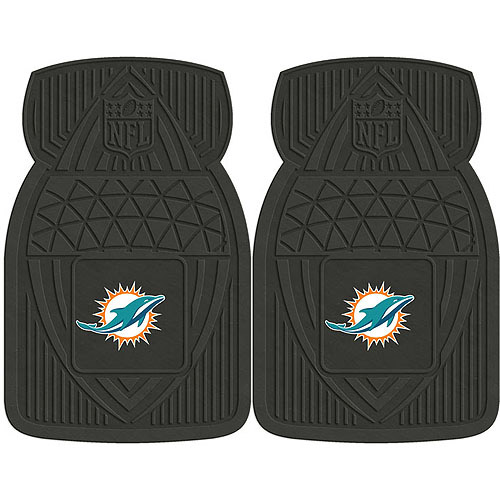 NFL 2-Piece Heavy-Duty Vinyl Car Mat Set, Miami Dolphins