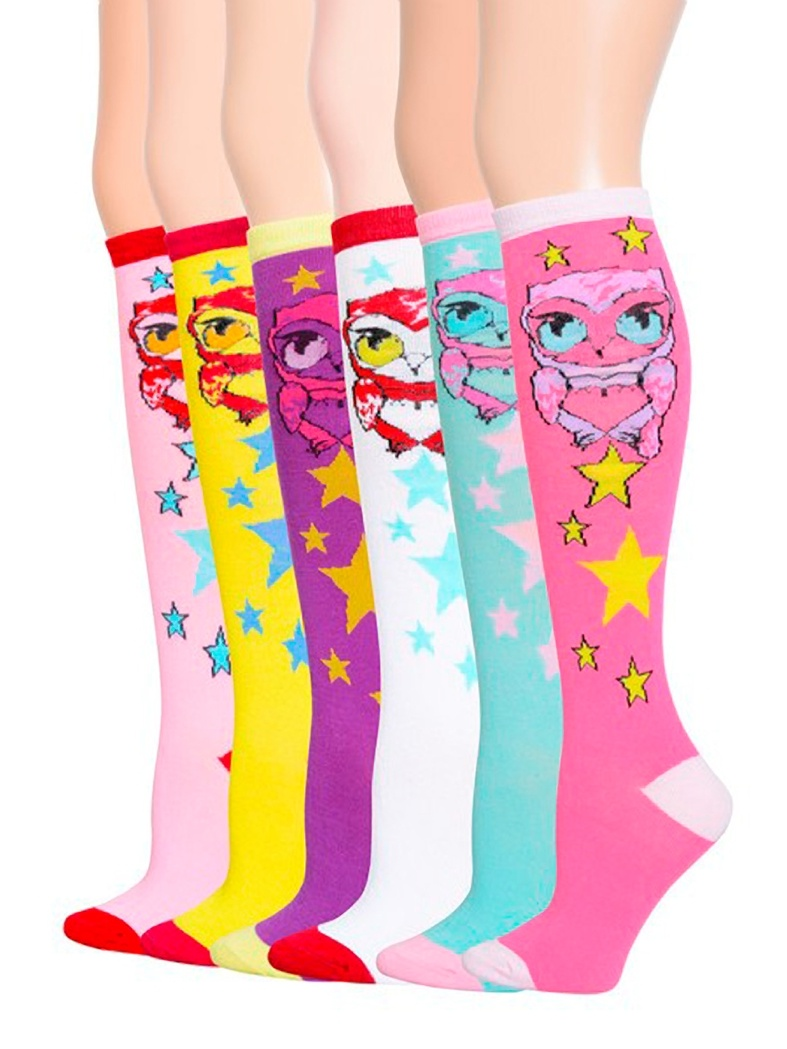 6 Pairs Fashion Owl, Knee High Socks