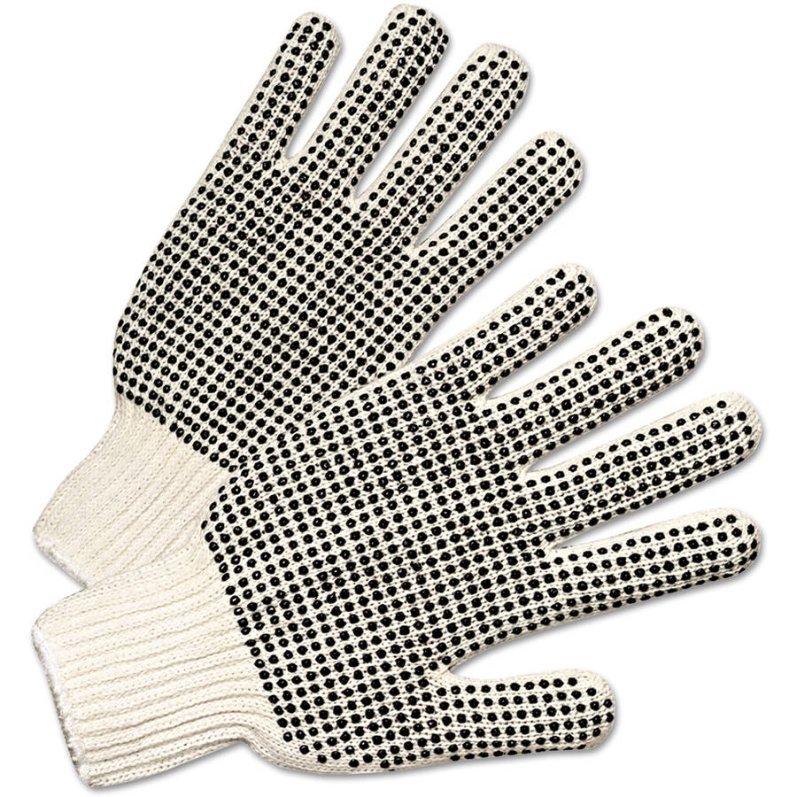 Anchor Brand - PVC-Dotted String Knit Gloves, Natural White/Black
