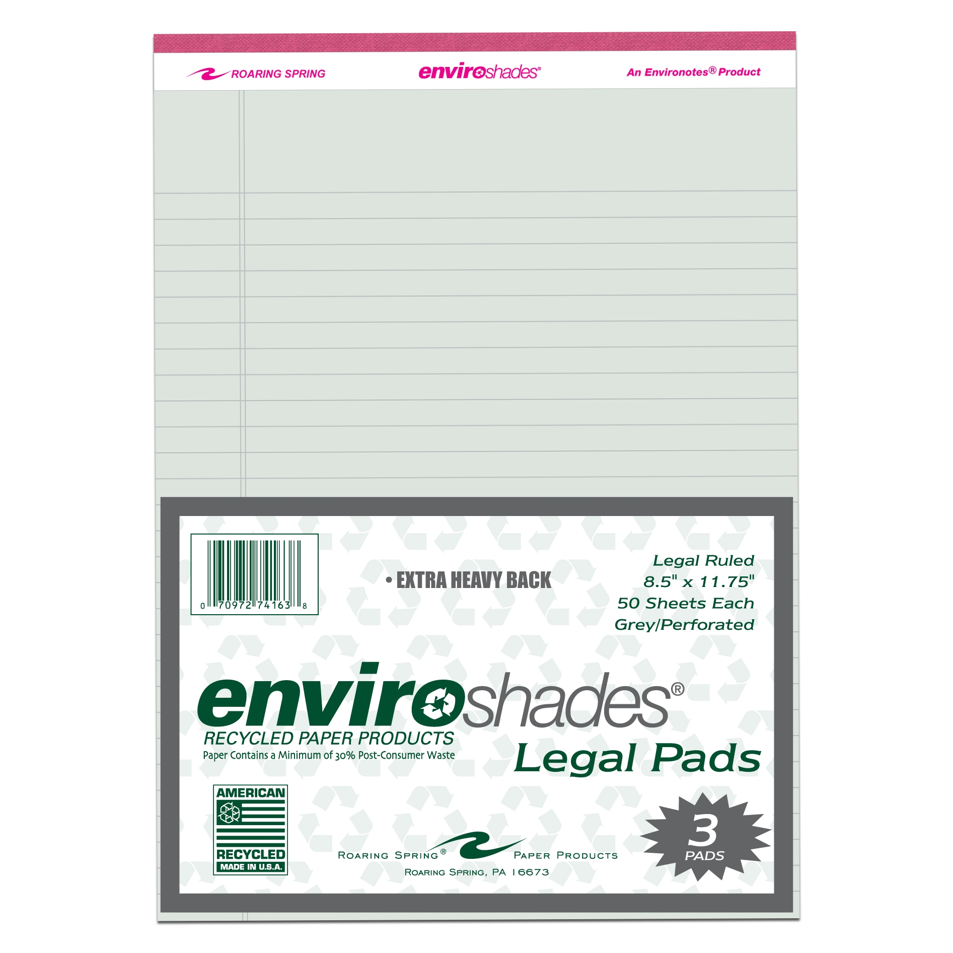 ENVIROSHADES 8.5X11.75 LEGAL 3/PK GREY PAPER