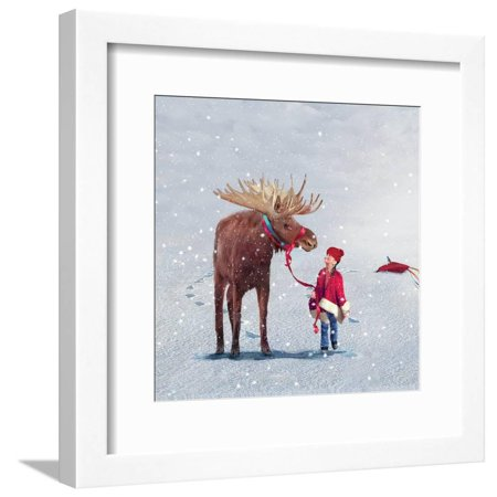 Best Friends Moose Child Whimsical Figurative Animal Art Framed Print Wall Art By Nancy (Best Friends Framed Print)