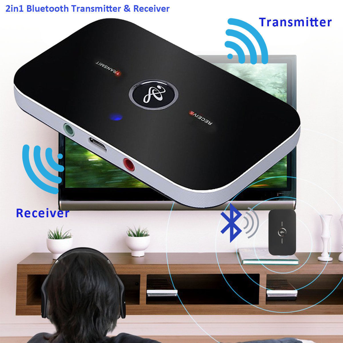 2in1 A2DP Home TV Stereo Audio Adapter Bluetooth Transmitter & Receiver Wireles