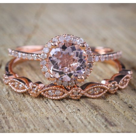 Antique Vintage Design Milgrain 2 carat Round Morganite and Diamond Halo Bridal Wedding Ring Set in Rose Gold for Women 2 Ring Wedding Set