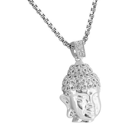 Buddha Face Designer Pendant 18k White Gold Plate Lab Created Cubic Zirconias Steel Necklace Mens (Buddha Face Pendant)