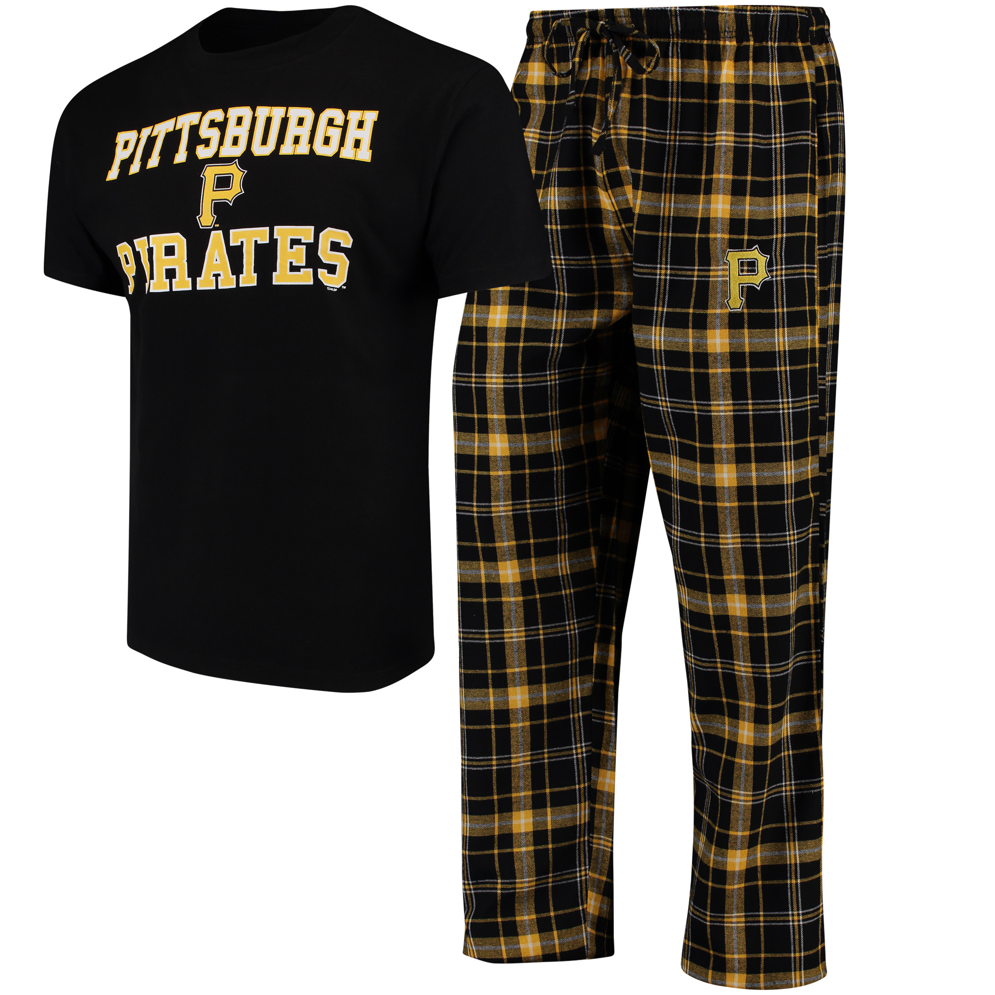 Pittsburgh Pirates Concepts Sport Halftime Pants and T-Shirt Set - Black/Gold