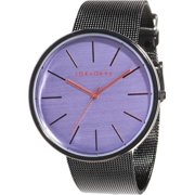 Mens Jet Analog Stainless Watch - Black Mesh Bracelet - Purple Dial - T2030-PU