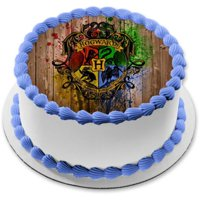 Harry Potter Hogwarts Crest Paintball Background Edible Cake Topper Image  8in Round