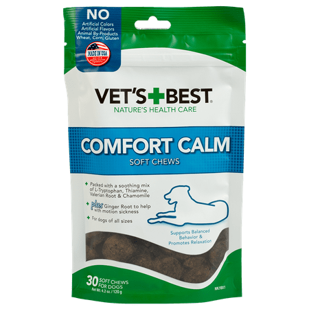 Vet's Best Comfort Calm Calming Soft Chews Dog Supplements, 30 Soft