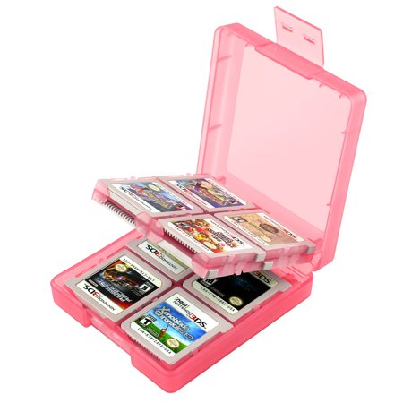 2 Pack Insten For Nintendo NEW 3DS / DS / DS Lite / DSi / DSi LL / XL Game Card Case 16-in-1, Light Coral