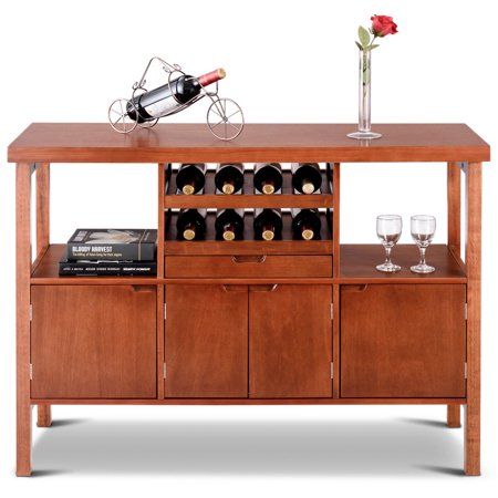 Wooden Buffet Server Table Storage Cabinet Sideboard Dining W Wine