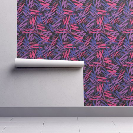 Removable Water-Activated Wallpaper Crayon Scribbles Crayon Scribbles Pink (Scribble Wallpaper)