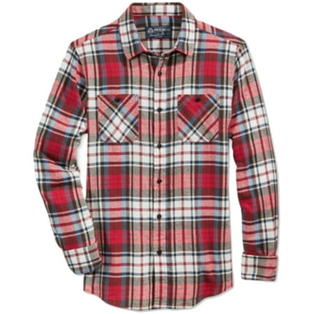 NEW Lipstick Red Mens Size XS Plaid Button Down Shirt