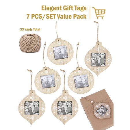 LaRibbons 6Pcs Christmas Ornaments DIY Wooden Photo Frame Gift Tags for Christmas Decor with 100Ft Jute Twine ()
