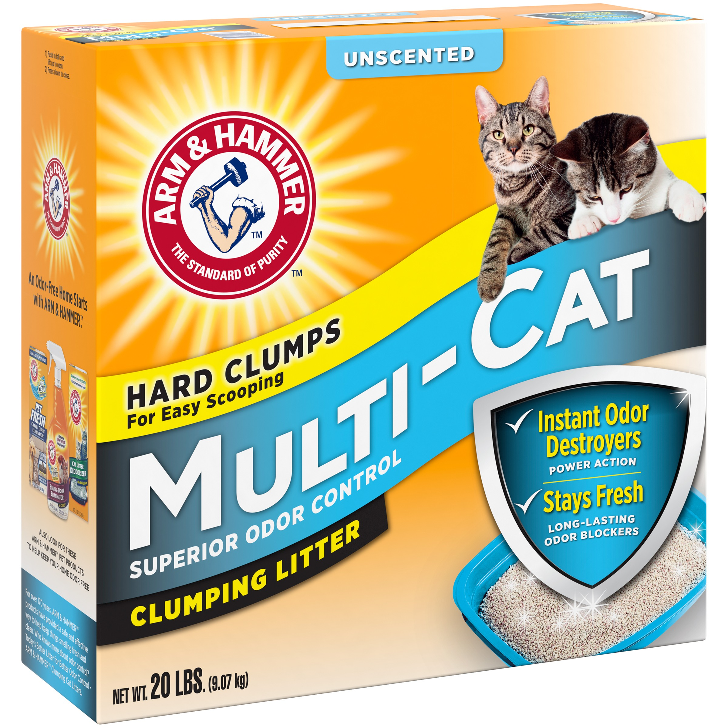 Arm & Hammer™ Multi-Cat Superior Odor Control Unscented Clumping Cat Litter 20 lb. Box