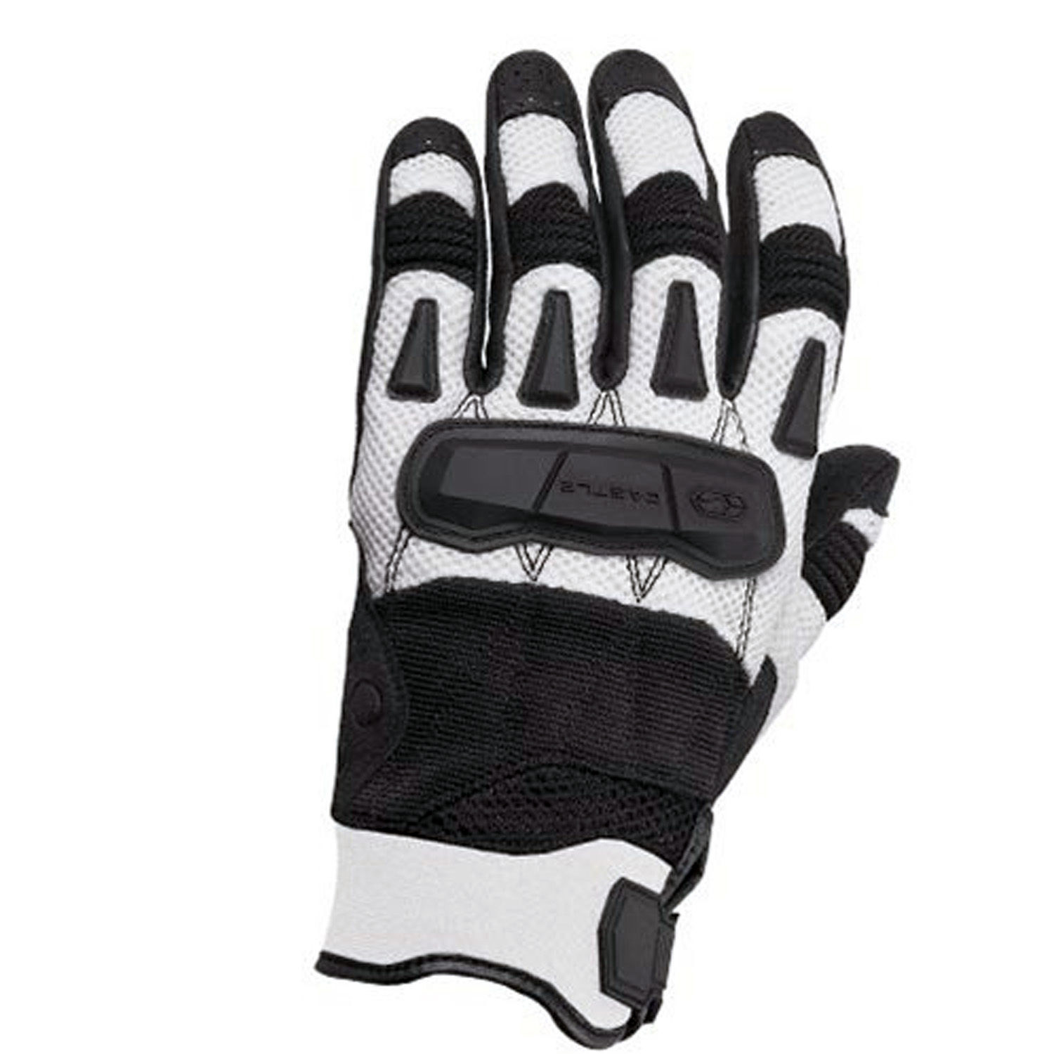Castle New White Blast Motorcycle Riding Gloves, Medium, 20-4294