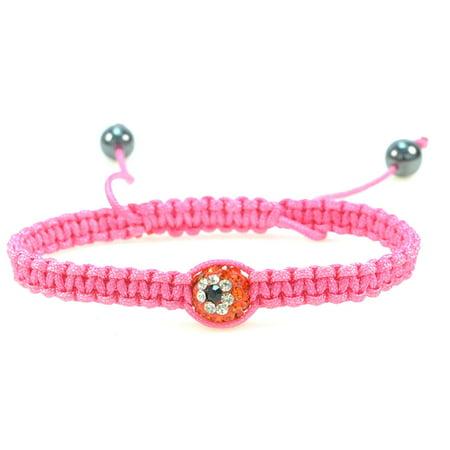 Round Red Evil Eye Ball Bracelet - Handmade Hot Pink String, Macramé Style, Adjustable Bracelet, Protective Amulet, Good Luck Charm, Lightweight – 91112 ()