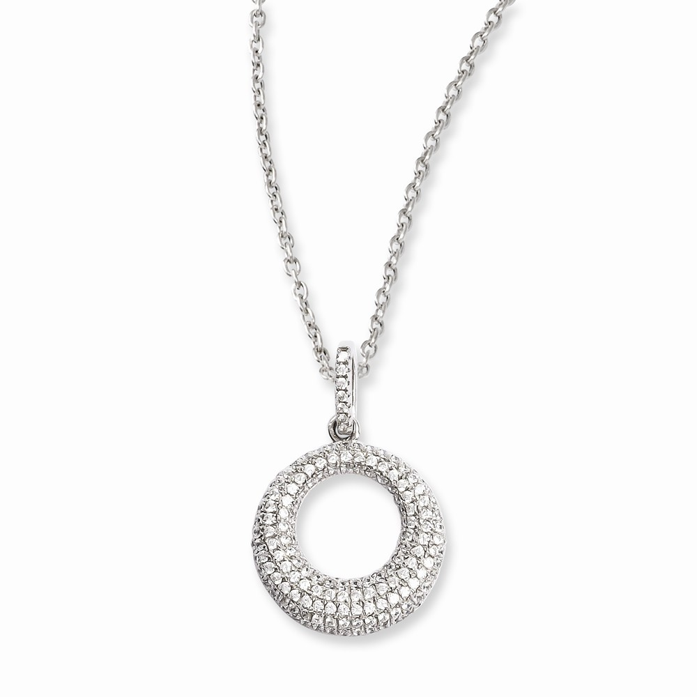 Sterling Silver & CZ Brilliant Embers Circle 18in Necklace
