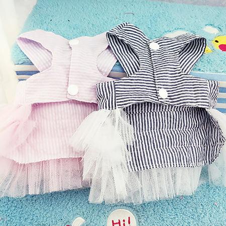 Cute Striped Princess Dress Lace Bowknot Tutu Skirt for Teddy Poodle Bichon Summer Wear Color:Pink Size:M - image 2 de 8
