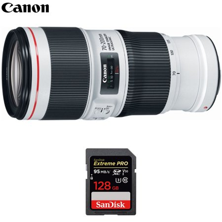 Canon (2309C002) EF 70-200mm f/4.0 L IS II USM Telephoto Zoom Lens with Sandisk Extreme PRO 128GB SDXC UHS-1 Memory