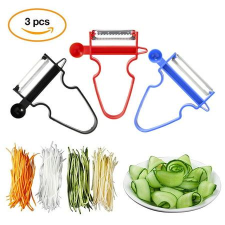 JLONG 3Pcs Magic Trio Peelers Slicer Shredder Peeler Julienne Vegetable  Fruit Cutter