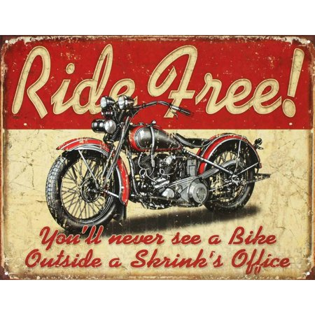 Ride Free Motorcycle Tin Sign - (Motorcycle Tin Sign)