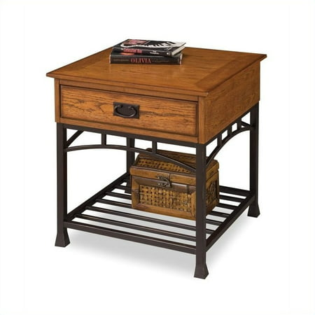 Bedroom Oak Accent Table - Modern Craftsman Distressed Oak End Table