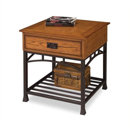 Modern Craftsman Distressed Oak End Table (Solid Oak Table)