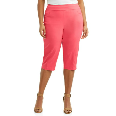 - Women's Plus Size Stretch Woven Capri Pant with Tummy Control