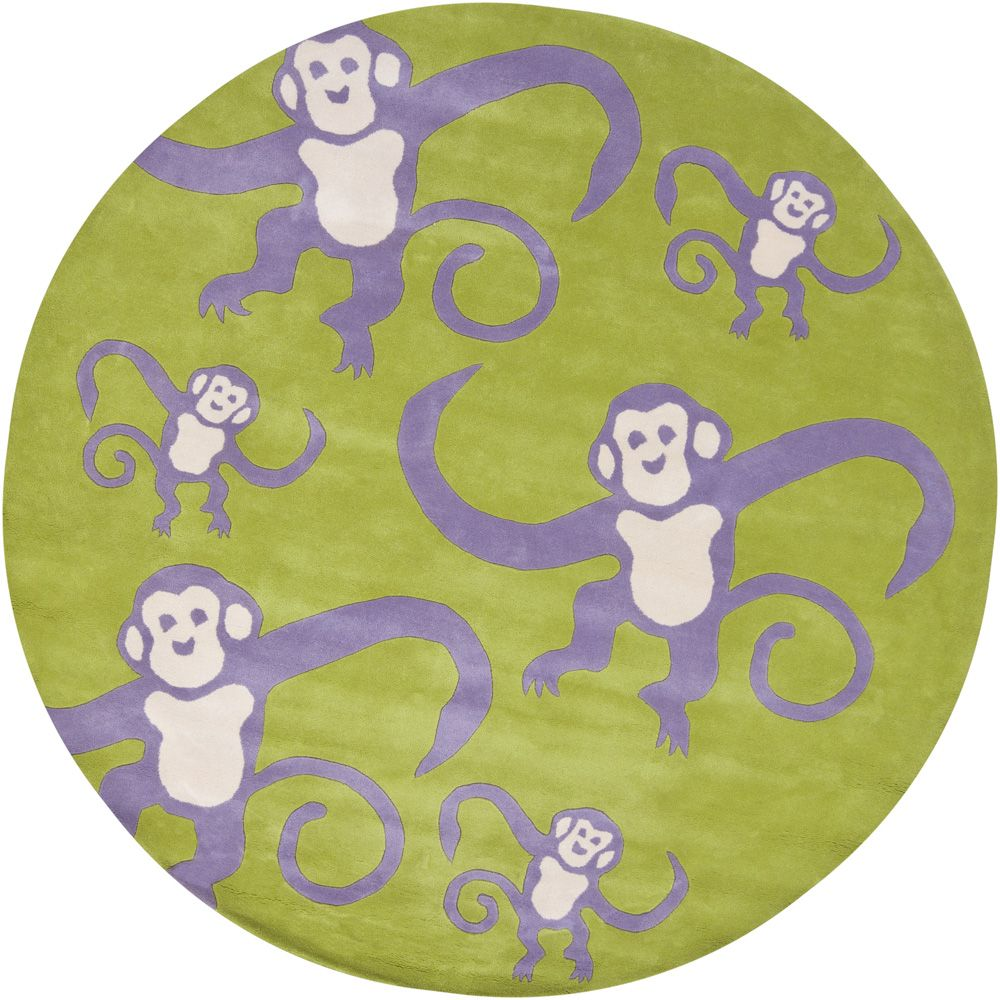 Kids Kids Collection Area Rug in Green-Purple and Oval, Rectangle, Round, Runner Shape