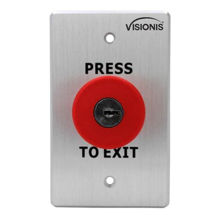 Visionis VIS-7031 Indoor Big Red With Cylinder Key Request To Push To Exit Button For Door Access Control With NC COM And NO
