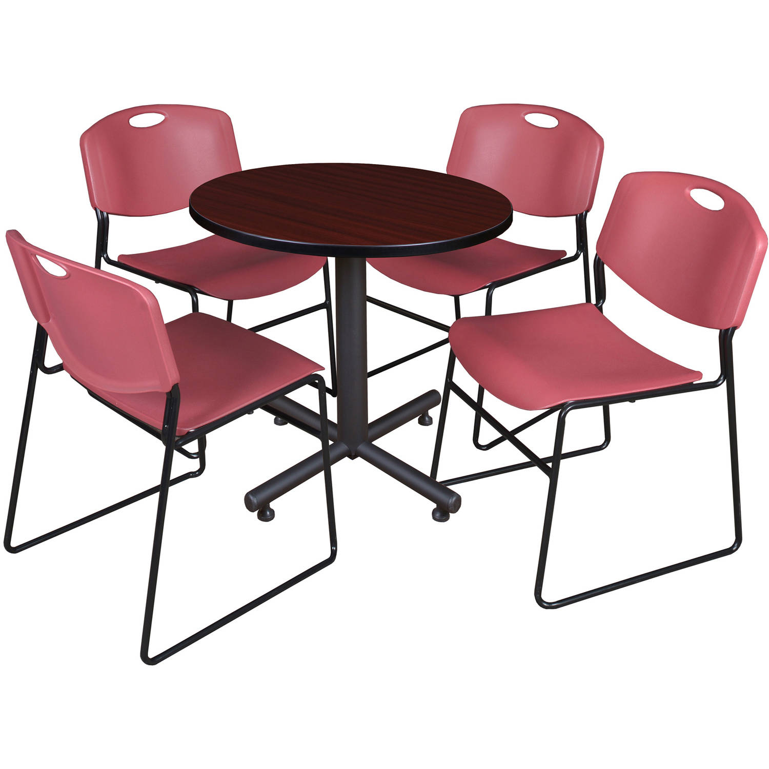Regency Round Table with 4 Zeng Stack Chairs in Mahogany and Burgundy-30""