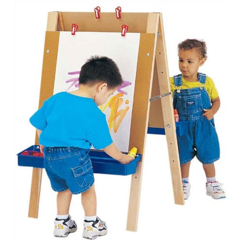 Jonti-Craft Folding Adjustable Marker Tray Double Sided Flipchart Easel