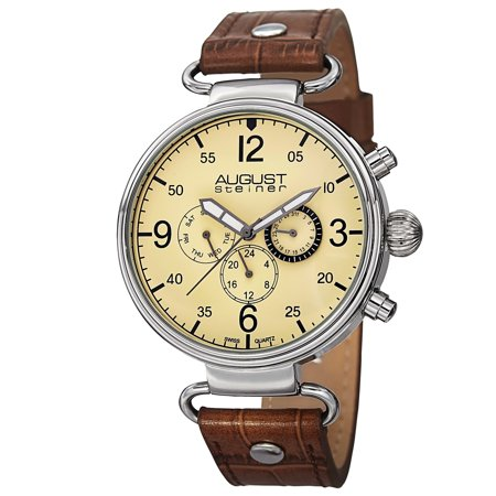 Men's Swiss Quartz Multifunction Leather Brown Strap Watch
