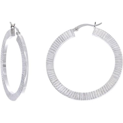 Sterling Silver Flat Diamond-Cut Hoop Earrings