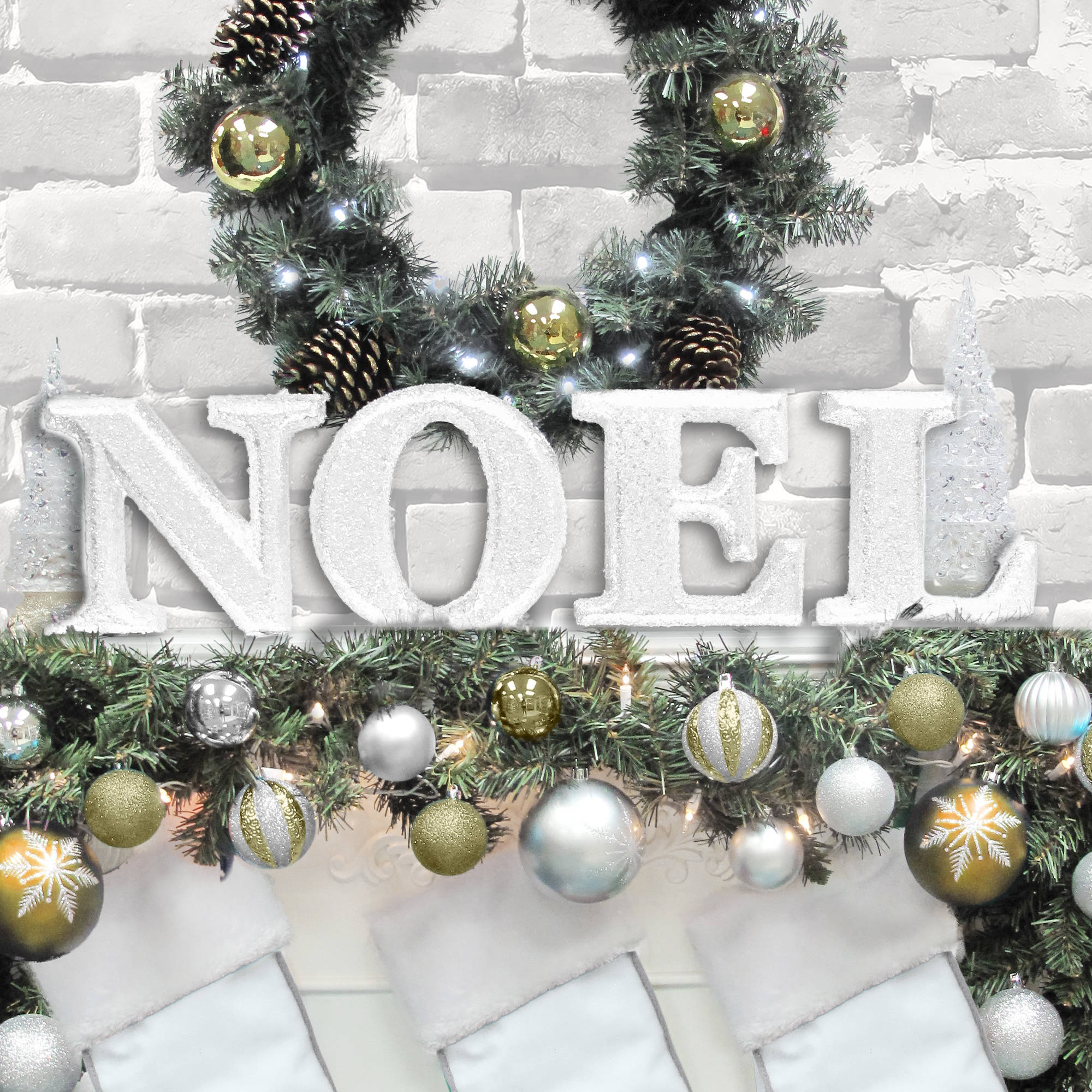 "Holiday Time Christmas Decor 8"" Decorative NOEL Letter Set, Glitter White"