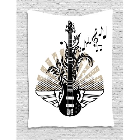 Guitar Tapestry, Geometrical Elements Stripes Swirls Dots Lines and Musical Notes Rock and Roll, Wall Hanging for Bedroom Living Room Dorm Decor, Tan Black White, by Ambesonne](Rock And Roll Wall Decor)