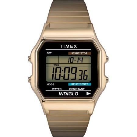 Timex Men's Classic Digital Watch, Gold-Tone Stainless Steel Expansion - Digital Stainless Steel Watch
