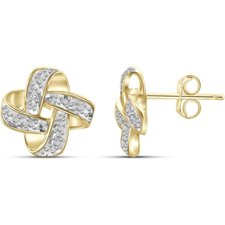 White Diamond Accent 14kt Gold-Plated Love Knot Stud Earrings