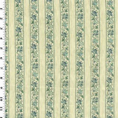 Blue Floral Stripe Print Vintage Linen Home Decorating Fabric, Fabric By the Yard