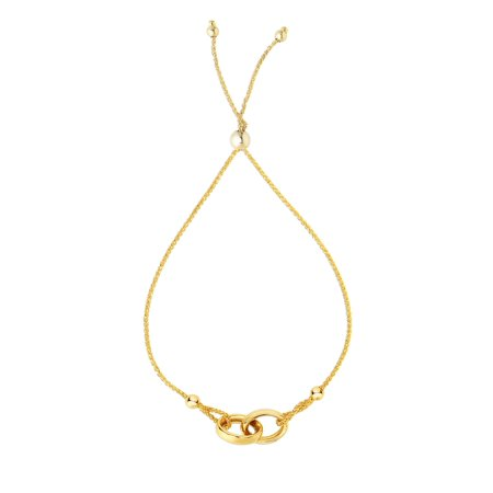 14k Gold Double Loop (Friendship 14K Yellow Gold Interlocked Double Ring Center Element Looped Round Wheat)