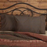 Soft Black Rustic Bedding Bannack Cotton Check Standard Pillow Case Set of 2