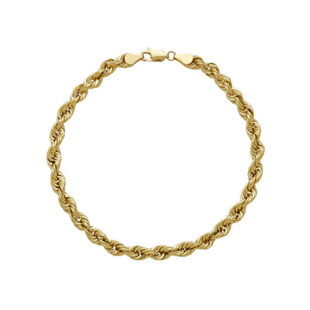 Brilliance Fine Jewelry 10K Yellow Gold 4.9mm Rope Chain Bracelet, 8.5